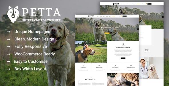 Petta – Pet Care WordPress Theme Overview