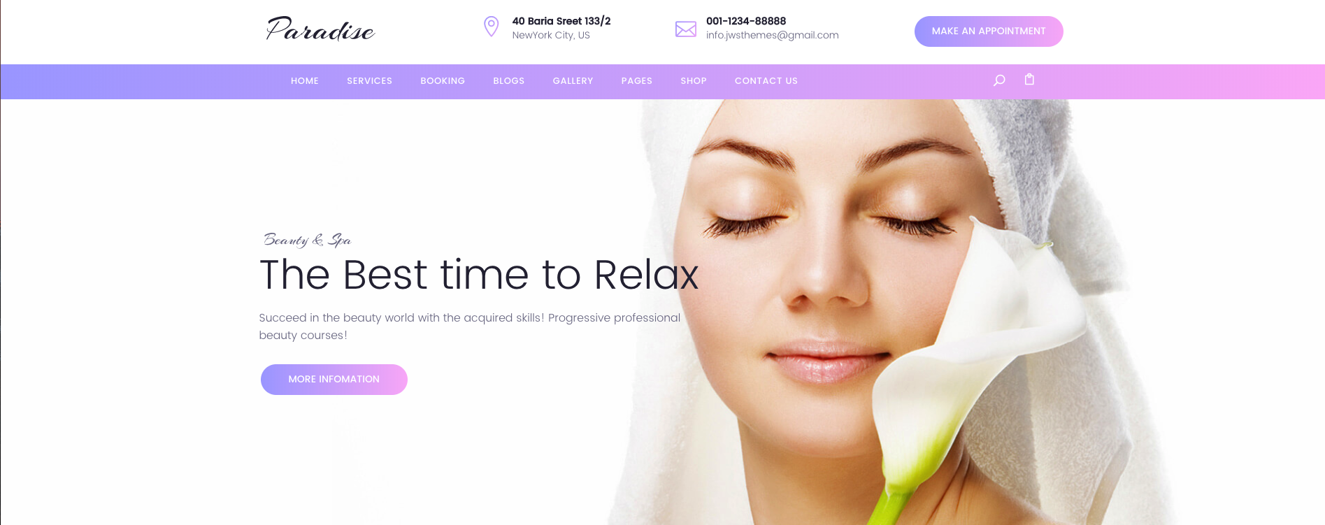 PARADISE – MULTIPURPOSE BEAUTY & SPA, HAIRCUT, NAIL, TATTOO WORDPRESS THEME
