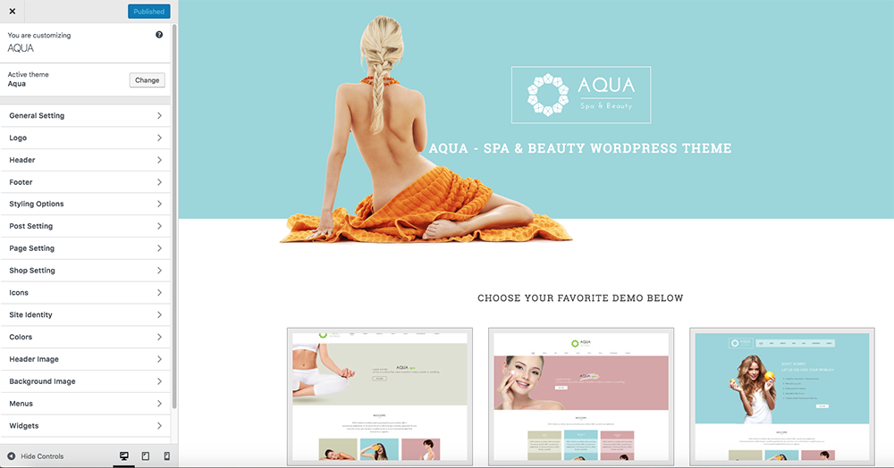 Aqua Spa and Beauty  WordPress Theme Review