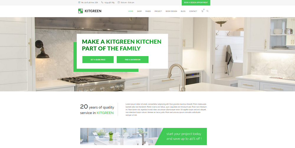KitGreen Modern Kitchen WordPress Theme